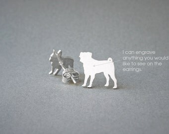 PUG NAME Earring - Pug Name Earrings - Personalised Earrings - Dog Breed Earrings - Dog Earring