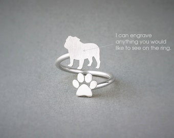 Adjustable Spiral ENGLISH BULLDOG and PAW Ring / English Bulldog  Ring / Paw Ring /Dog Ring / Silver, Gold Plated or Rose Plated.