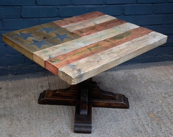 Reclaimed wood table, made from up-cycled materials in the style of the American flag- the STAR SPANGLED table