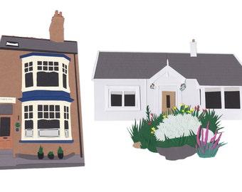 Aangepaste huis portret papercut kunst - kunst aan de muur gepersonaliseerde illustratie paperart - nieuwe huis huis opwarming van de aarde Fathers Day gift