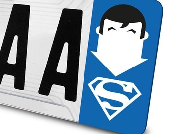 Sticker Superman for number plates