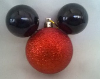 Mickey Mouse Christmas Ornament Red Glitter Head and Black Ears Handmade
