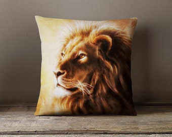 Lion Decor | African Decor | African Pillow | Lion Bedding | Lion Pillow | African Gifts - Throw Pillow Cover