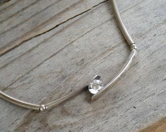 "CZ Sterling silver necklace 16"" crystal 925 Korea CZ GA616"