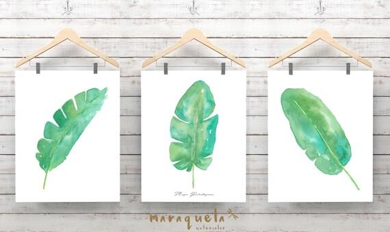 DISCOUNT SET Banana Leaves Watercolor, Tropical Plants Botanical art, Green leaves Nature art set, Spring decor, Monstera leaf watercolor