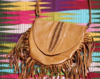 Fringed Leather Medicine Style Bag, Boho Bag