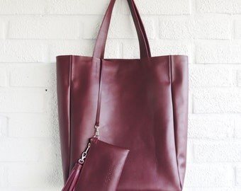 Tote bag - burgundy leather