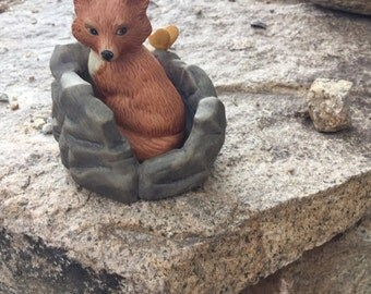 Christmas in July Vintage Woodland Surprises Fox Figurine 1984