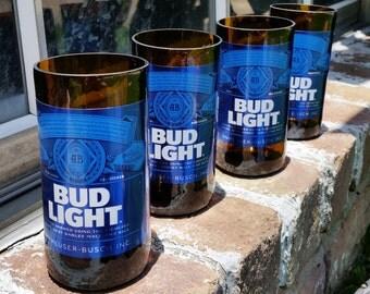 Set of 4 upcycled Bud Light glasses
