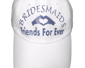 White Cotton Bridesmaids Hat Friends For Ever Print- Adjustable