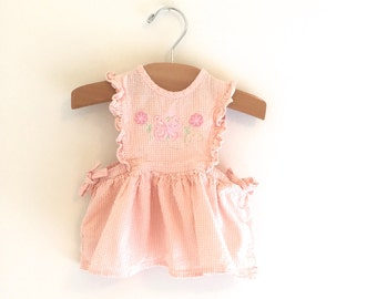 Vintage 90's Peach Gingham Pinafore Baby Dress, Vintage Baby Pinafore Dress, Size 6-9m