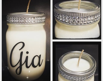 Personalized Soy Candle Mason Jar Candles