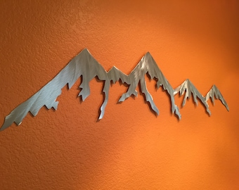 Aluminum metal wall art mountains for outside or inside hanging, Colorado mountain range, Handmade home decor, Bathroom wall ideas, silver
