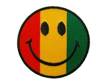 Smile Smiley Flag of Judah Reggae Rasta Ganja Embroidered Applique Iron on Patch
