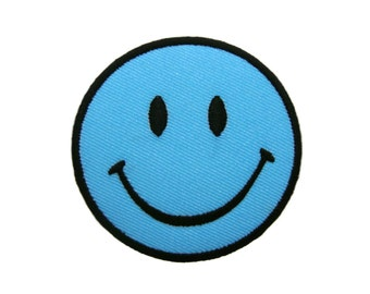 Blue Smiley Happy Smile Face Embroidered Applique Iron on Patch