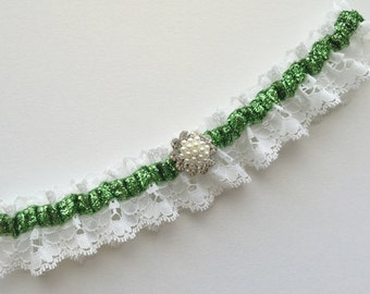 Wedding Garter, Ivory Lace garter, Green garter