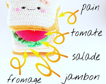 Dinette educational 6 parts Croque Monsieur - Madame Sandwich Ham Cheese salad tomato Amigurumi Kawaii Crochet 100% cotton Vegan bread