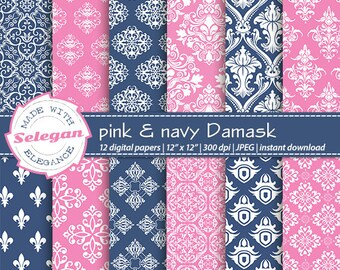 "damask paper "" Pink & Navy Damask "" digital scrapbook paper 12x12 Printable european royal wedding pattern damask pink navy blue background"