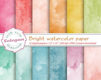 "watercolour ""Bright Watercolor Paper"" digital paper scrapbook 12x12 printable pattern texture background download"