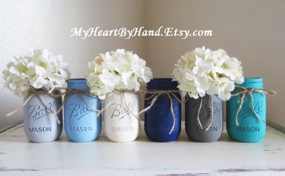 baby shower mason jar centerpieces nautical theme painted ball jars