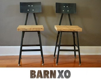 Set of 2 Reclaimed Urban Wood Industrial Bar Stool w/ Steel Back -**Fast Shipping** -