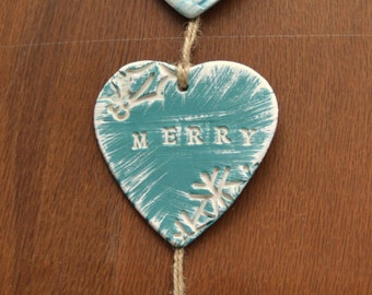 Merry Christmas Decoration, Clay Wall Hanging, Coastal Christmas Decor