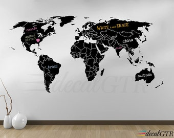 World Map Countries Wall Decal - Borders Outlines Dry Erase Chalkboard Vinyl - Wall Art Decor Sticker erasable white black board - V008