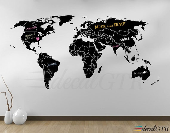 World map countries wall decal borders outlines dry erase like this item sciox Choice Image