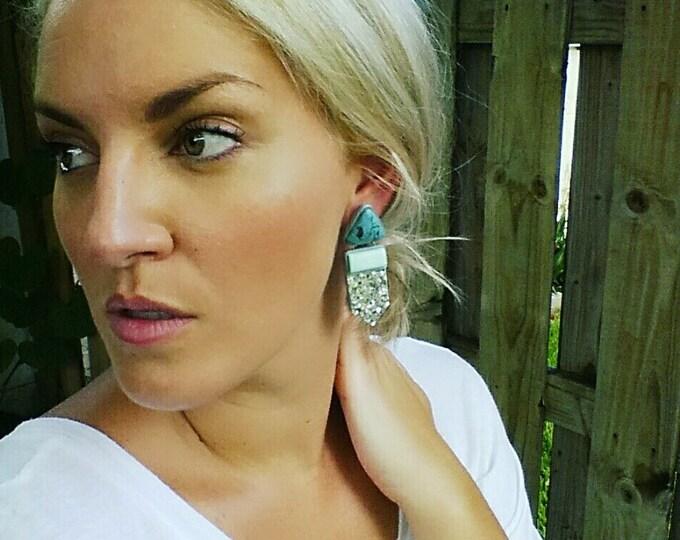 OPULENT DROP STUD earrings// Geometric, polymer clay, turquoise and silver glitter earrings// Handmade statement drop studs// #SE1019