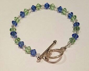 Beaded Bracelet, Swarovski bracelet, blue and green