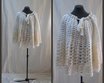 Vintage Knit Cape, Ivory and Cream