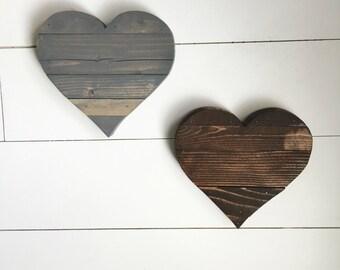 Rustic 8 inch wide wood heart