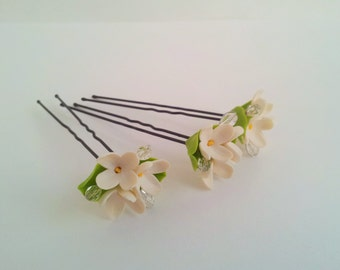 Bridal hair flowers , Wedding hair accessories, White flower hair pins ( set of 3 )