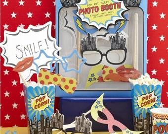Photo Booth Props & Masks - Pop Art Superhero Party