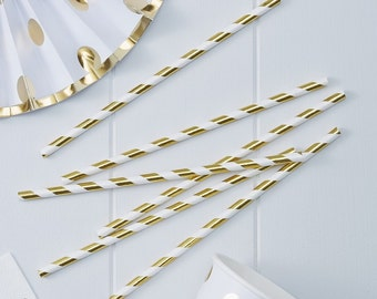 Gold Metallic Paper Straws - Pick And Mix Party Tableware Accessories Party Supplies