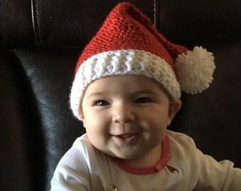 Crochet baby Santa hat