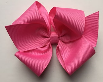 Pink hair bow, girls hair bow, toddler hair bow, baby hair bow, large bows, large hair bow, girl hair bow, pink bow, plain bow