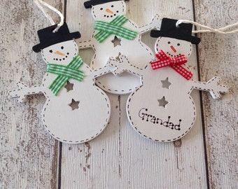 Handmade Christmas tree decorations snowman reindeer gingerbreadman angel .