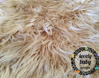 Faux fur Frosted light brown nest newborn photo prop