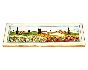 Italian Ceramic Art Tile Pottery Decorated Landscape Tuscan Handmade in ITALY