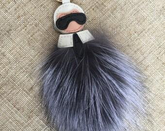 Puffs Fox Fur Keychains Pompoms Fluffy karlito inspired Bag Charm Handbag Accessories Gray fuzzy Purse Charm Karlito Keychain Car Keys Ring