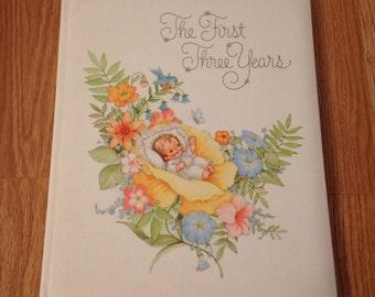 Adorable Vintage Hallmark The First Three Years Baby Book~UNUSED