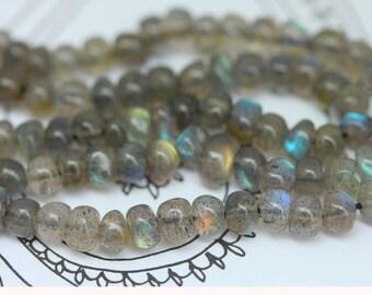 Labradorite Rondelle handmade  Beads 4-5 mm Top Quality Flashy Labradorite / Blue Orange Green Labradorite  AAA Labradorite Beads / Set of 8