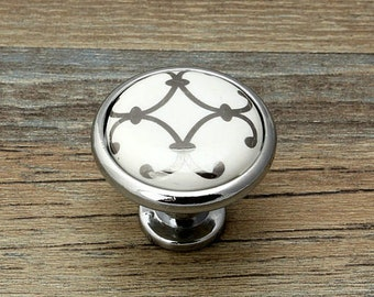 Dresser Knobs Drawer Knob Pulls Handles / White Gold Cabinet Knobs ...