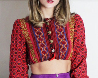 Antique Bohemian Gypsy Cropped Blouse