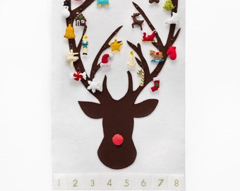 Christmas Advent Calendar Pattern - Wool Felt - Christmas Countdown - Reindeer with 24 Treasured Characters