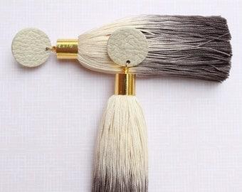 Grey Earrings • Grey Tassel Earrings • Ombre Jewellery • Statement Earrings • UK Earrings • Long Tassel Earrings • Long Earrings
