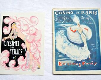 Casino De Paris Vintage Programme Stylish Art Work, With Extra Ephemera, Casino De Folies Leaflet, French Advertising, Burlesque, Showgirls,