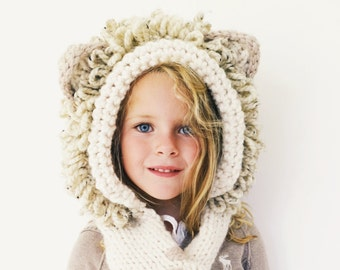 PATTERN for Lion Hat Hood Cowl Scarf Knit Toddler Child Adult // Leroy the Lion Hood PATTERN