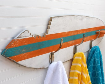 Surfboard Towel Hook Shark Bite Wooden Surfboard Towel Rack Beach House Entryway Hook